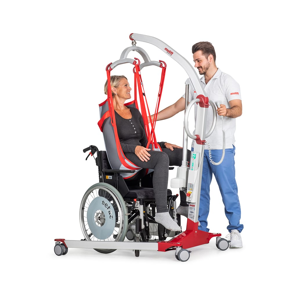 Molift Mover 180 user in wheelchair with carer
