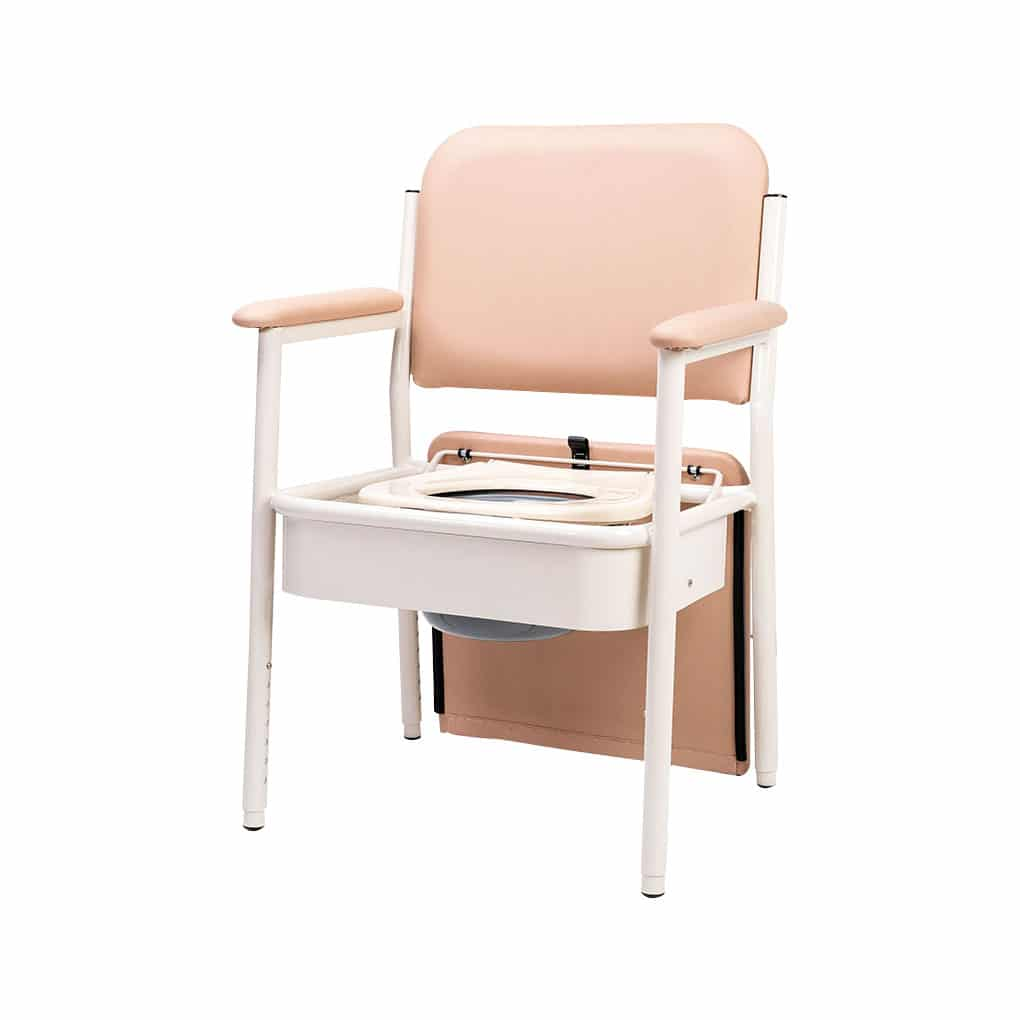 Deluxe Bedside Commode - Seat lid fully tilted back