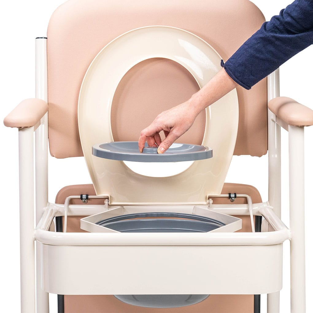Deluxe Bedside Commode - Removable bucket with lid