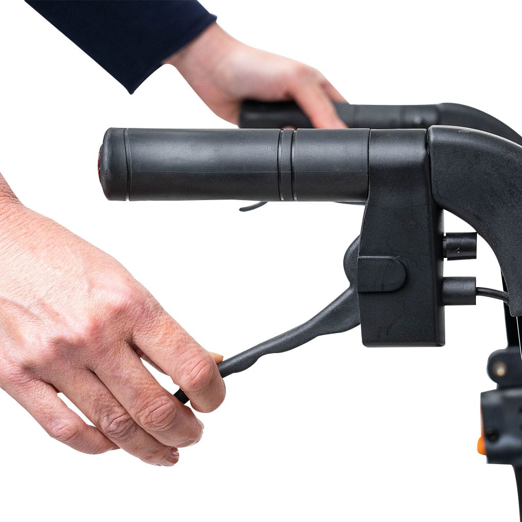 Peak Ellipse Super Lite Carbon Fibre Rollator - Push down lockable brakes
