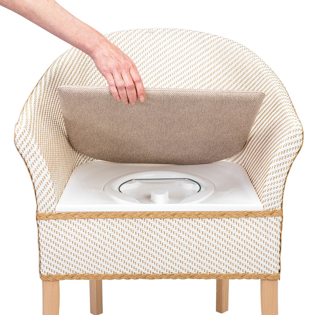 Deluxe Basketweave Commode - Lid Lifted