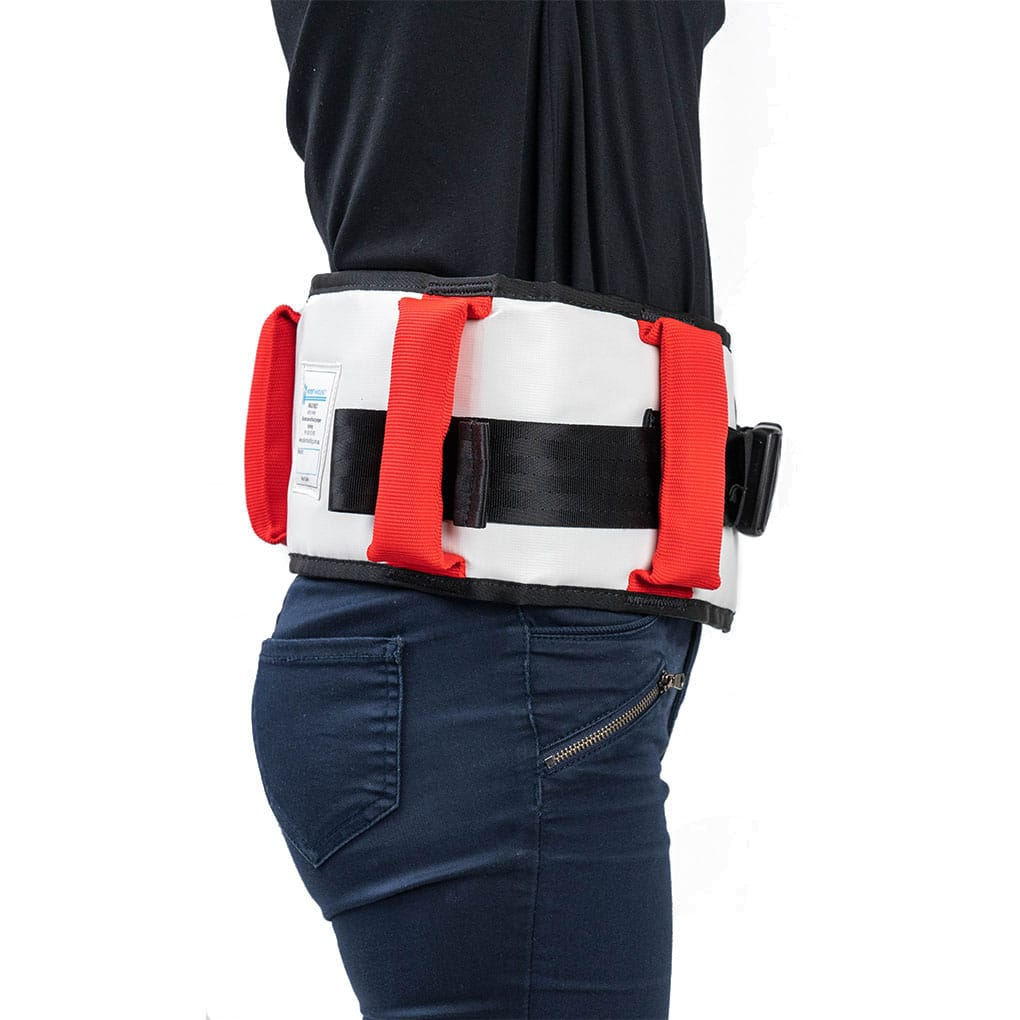 Patient Handling Walk Belt Red - Side Angle on Person