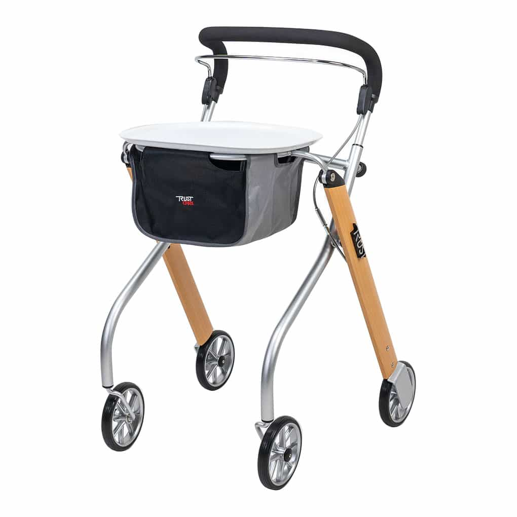 Trust Indoor Rollator with Tray - Left Angle View